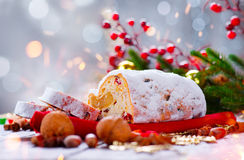Christmas stollen. Traditional sweet fruit loaf Royalty Free Stock Photos