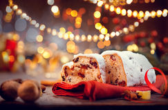 Christmas stollen. Traditional sweet fruit loaf royalty free stock photo