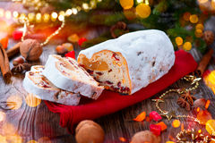 Christmas stollen. Traditional sweet fruit loaf stock photo