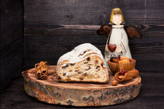 Christmas stollen on wooden background Royalty Free Stock Photos