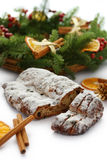 Christmas Stollen and wreath Stock Photography