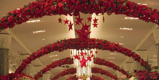 Christmas store decoration. Christmas decoration in department store royalty free stock photography