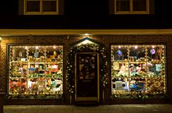 Christmas Storefront. Attractive storefront with Christmas lights and decorations at night, in Cape May, New Jersey Stock Photography