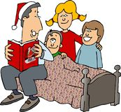 Christmas Stories. This illustration that I created depicts a father reading Christmas stories to his children Stock Photo