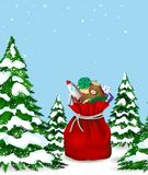 Christmas story. Happy New Year, vector christmas card, bag with toys Stock Photo