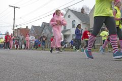 A Christmas Story Annual Run/Walk in Cleveland, Ohio, USA. The annual fun run/walk named after the now cult film `A A Christmas Story` is participated in by Stock Images