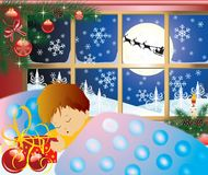 Christmas story, baby's dream. Vector Stock Image