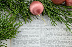 Christmas story and greenery with pink ornaments Royalty Free Stock Photo