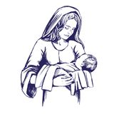 Christmas story. Mary and baby Jesus, Son of God , symbol of Christianity hand drawn vector illustration. Stock Image