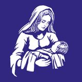 Christmas story. Mary and baby Jesus, Son of God , symbol of Christianity hand drawn vector illustration. Stock Photos