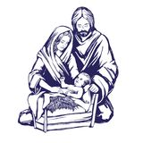 Christmas story. Mary, Joseph and the baby Jesus, Son of God , symbol of Christianity hand drawn vector illustration. Stock Image