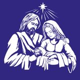 Christmas story. Mary, Joseph and the baby Jesus, Son of God , symbol of Christianity hand drawn vector illustration. Christmas story. Mary, Joseph and the baby Royalty Free Stock Images