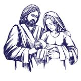 Christmas story. Mary, Joseph and the baby Jesus, Son of God , symbol of Christianity hand drawn vector illustration. Stock Photography