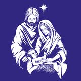 Christmas story. Mary, Joseph and the baby Jesus, Son of God , symbol of Christianity hand drawn vector illustration. Royalty Free Stock Photos
