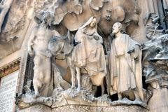 The Christmas story, Sagrada Familia in Barcelona Royalty Free Stock Photos