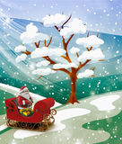 Christmas story: Santa Claus with gifts for the holiday Stock Image