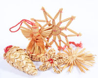 Christmas straw decorations Stock Photo