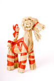 Christmas straw goat. On white isolated background royalty free stock images