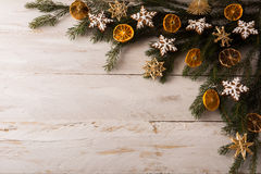 Christmas straw ornaments background royalty free stock photos