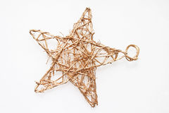 Christmas straw star. On white Royalty Free Stock Image