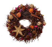 Christmas straw wreath Stock Photos