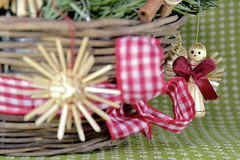 Christmas straw wreath decoration Royalty Free Stock Photography