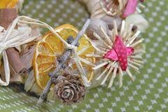 Christmas straw wreath decoration Royalty Free Stock Photo