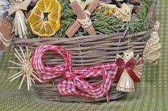 Christmas straw wreath decoration Stock Image