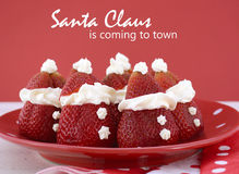 Christmas Strawberry Santas Stock Photo