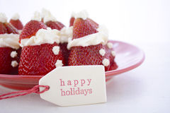 Christmas Strawberry Santas Stock Photography