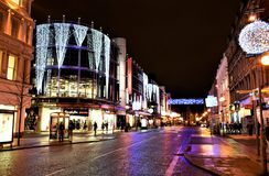 Christmas street in Belfast. Unique Christmas time in Belfast . Night, season decoration, light and unforgettable atmosphere before Christmas Royalty Free Stock Image