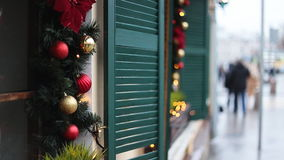 Christmas street decor stock video