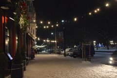 Christmas Street Decorated Festive Garlands And Lights In Winter Stock Image