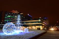 Christmas street decoration in Astana, Kazakhstan Royalty Free Stock Photo