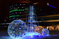 Christmas street decoration in Astana, Kazakhstan Royalty Free Stock Photo