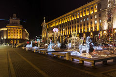 Christmas street decoration in the center of Sofia,Bulgaria Royalty Free Stock Photo
