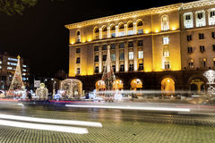 Christmas street decoration in the center of Sofia,Bulgaria Royalty Free Stock Photos