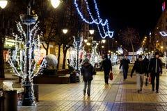 Christmas street decoration at night Royalty Free Stock Image