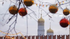 Christmas street decoration. Trees in garlands. Christmas street decoration. Trees in garlands on Red Square in Moscow, Russia stock footage