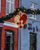 Christmas street decorations. Christmas street heart shaped decorations in the Copenhagen, Denmark Stock Photos
