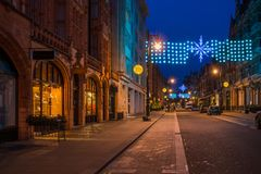 Christmas street decorations on Mount Street in Mayfair, Central Stock Image