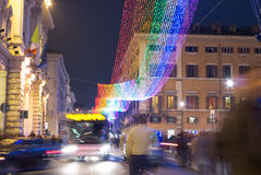 Christmas street decorations in Rome Royalty Free Stock Photo