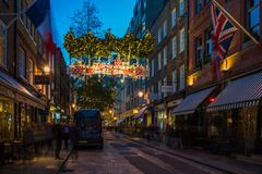 Christmas street decorations at Seven Dials in London, UK stock photo