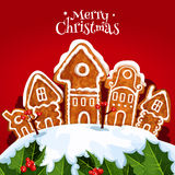 Christmas street with gingerbread home, holly tree. Christmas gingerbread house greeting card. Snowy street of Christmas town with gingerbread cookie home Royalty Free Stock Image