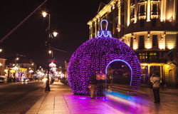 CHRISTMAS STREET, LIGHTINGS IN OLD TOWN, WARSAW, POLAND. Stock Image