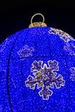 Christmas street lights, blue and yellow leds. Big bauble. Christmas decorations, street lights with blue and yellow leds. Big bauble stock photography