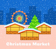 Christmas street market urban vector background. Christmas market vector background. Festive fair illustration. Street stalls, Christmas tree and observation Stock Image