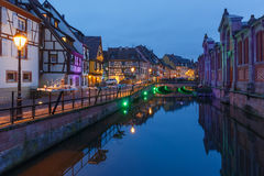 Christmas street at night, Colmar, Alsace, France Stock Images