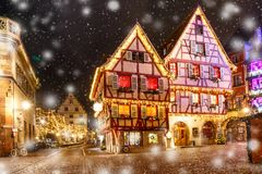 Christmas street at night in Colmar, Alsace, France Royalty Free Stock Images