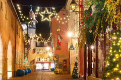 Christmas street at night in Colmar, Alsace, France Royalty Free Stock Photos